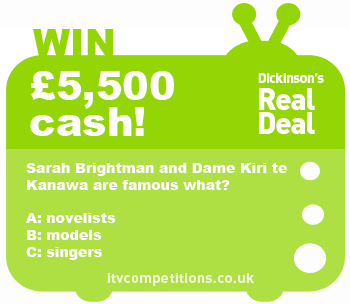 Dickinsons Real Deal competition question - 7th December 2012