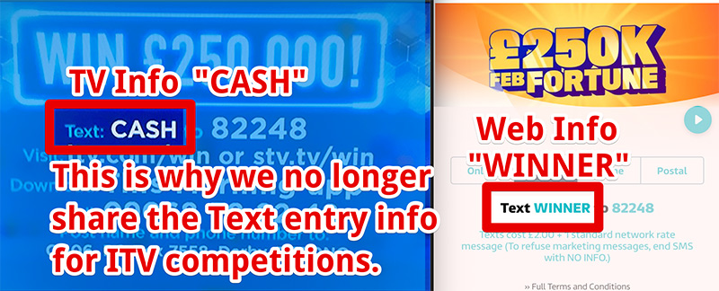 ITV competitions text entry