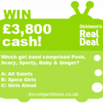 Dickinsons Real Deal competition question - 1st November 2012